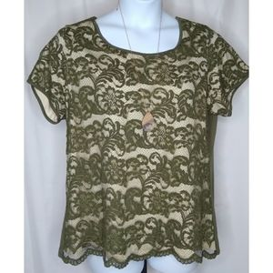 ROZ & ALI Olive Lace Exposed Zip 2X
